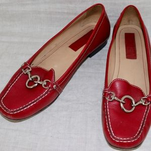 COACH Red leather Driving Loafers size 10M